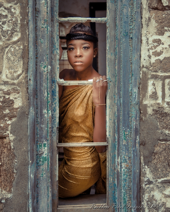 Model Reese Maddox on location at Eastern States Penitentiary