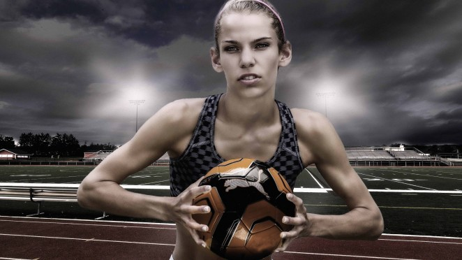 A photoshop composite. Merging a model, with a prop (ball) and a background.