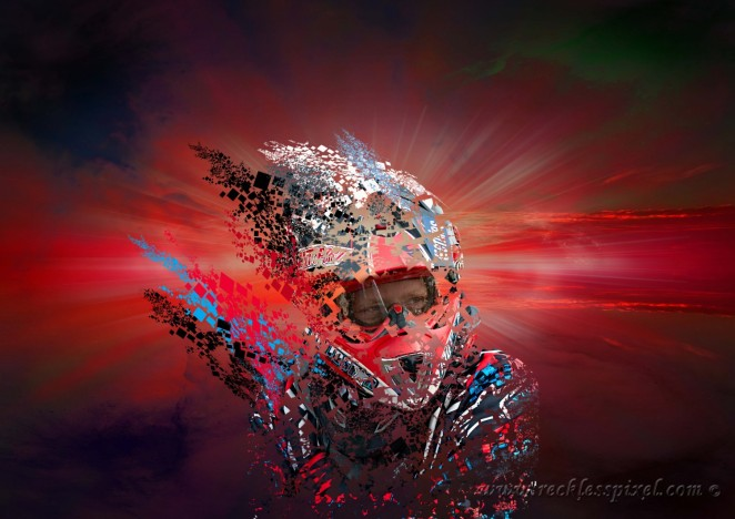 Photoshop composite of NY motocross rider Harlan Hoose.