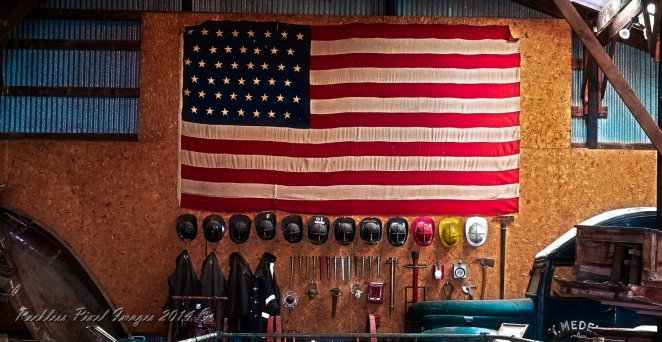 45 Star banner on display at Space Farms Museum Susses County New Jersey.