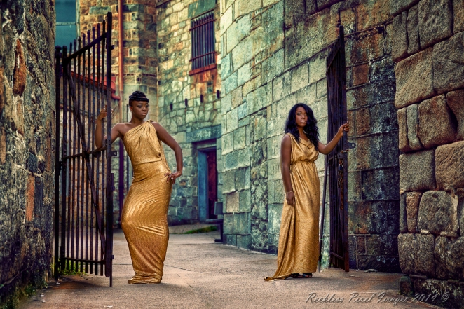 "Reese & Tishana at Eastern States Penitentiary. I call the shot ""The Gate Keepers."""
