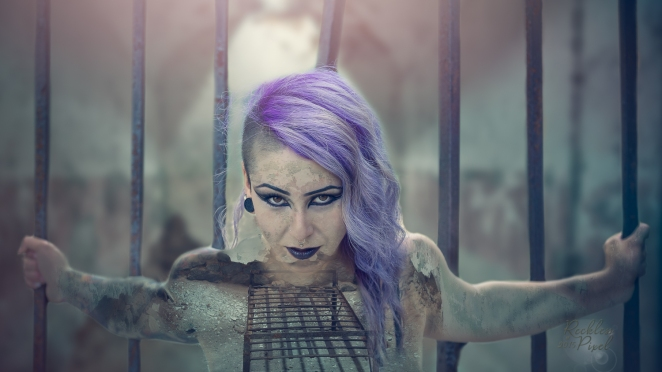Model Bree Arkham. A two image composite from the Eastern STates Penitentiary shoot.