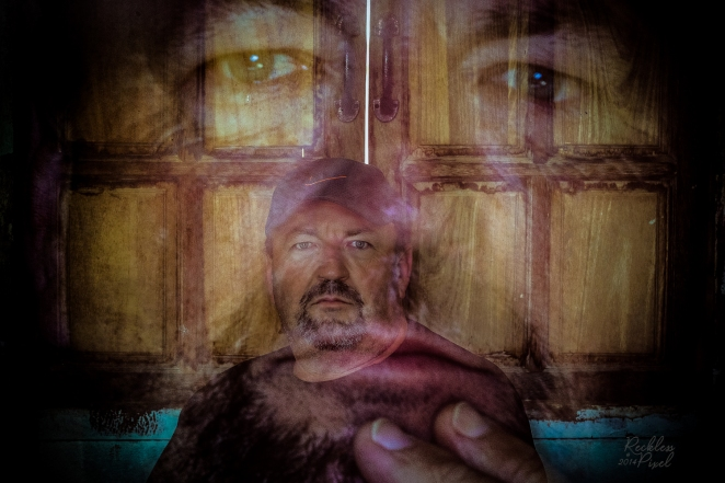 Double exposure made in Analog Efex Pro. Self portrait at my house in Thailand. I love the wooden window shutters.