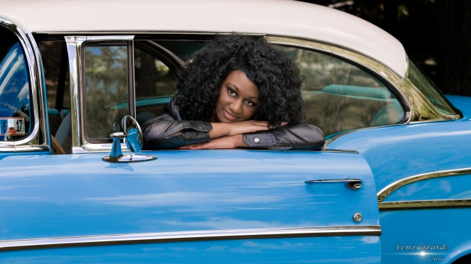 Shantae Taylor posing in a 1957 Chevy 1/25 sec at f/7.1 ISO 200 85mm